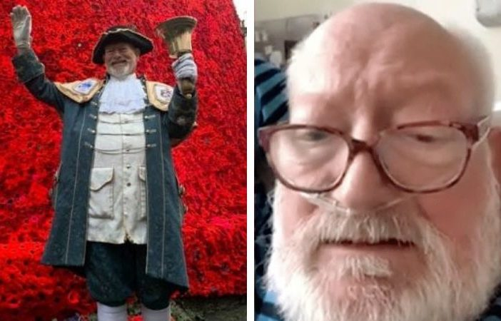 Exmouth town crier Roger Bourgein was in hospital with coronavirus for 11 day. Picture (left) courtesy of Roger Bourgein. Image (right) courtesy of ITV News