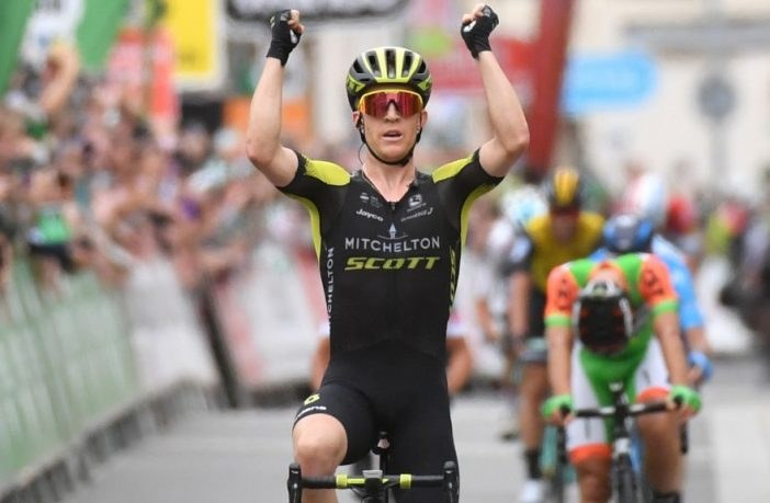 Cameron Meyer wins the Devon stage of the Tour of Britain in 2018. Image: Devon County Council