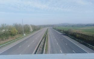 The M5 near to Broadclyst and Poltimore in East Devon.