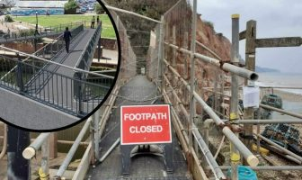 Alma Bridge in Sidmouth is shut, while (inset) work on a new structure has been halted.