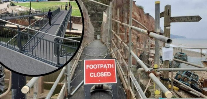 Sidmouth bridge is shut to stop people venturing onto danger beach – as coronavirus halts work on new structure