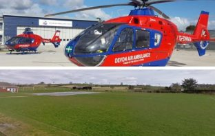 An air ambulance night landing zone is proposed at Feniton Playing Fields. Image, top: Devon Air Ambulance Trust. Image, bottom: Google Maps