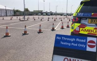 The drive-thru coronavirus testing centre at Sandy Park, Exeter. Picture: Devon Freewheelers