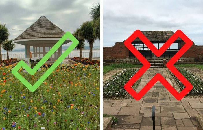 East Devon District Council will reopen parks like Beach Gardens in Exmouth (pictured, left) - but Connaught Gardens in Sidmouth (right) is among those which will remain closed.