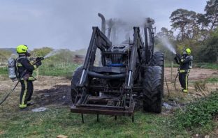 Firefighters tackled a tractor blaze in Lodge Lane, Axminster, Picture: Charmouth Fire Station