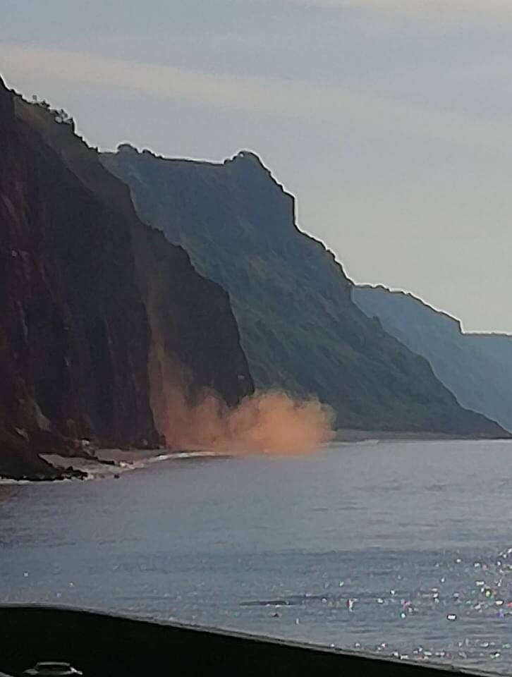 Another cliff fall to the east of Sidmouth beach at around 8.45am on Wednesday, May 27. Picture: Ray Moseley