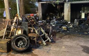 The aftermath of the garage fire in Poplar Mount, Axminster. Picture: Charmouth Fire Station