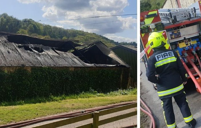 The agricultural building in Branscombe after the blaze. Picture: Sidmouth Fire Station