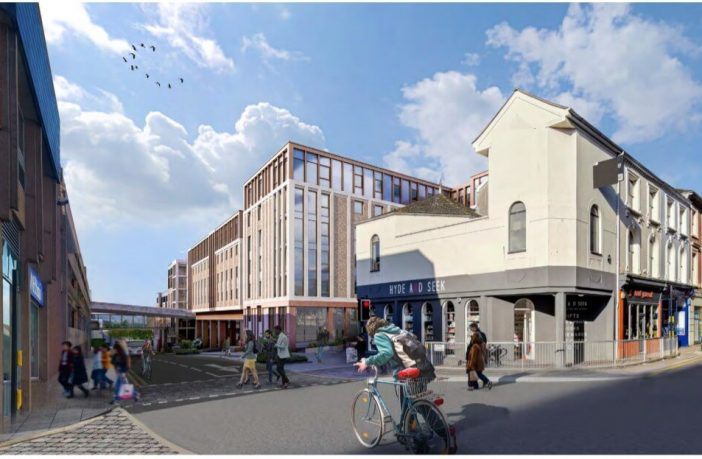 A new artist's impression of the redevelopment plans for the Harlequins shopping centre in Exeter. Image: Curlew - from the planning application