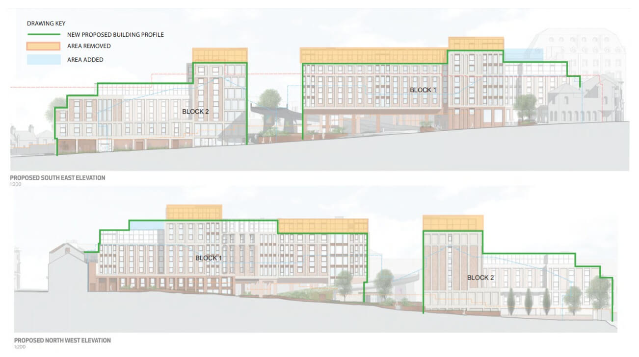 Revision to the plans for the redevelopment of the Harlequins centre in Exeter. Image: Curlew