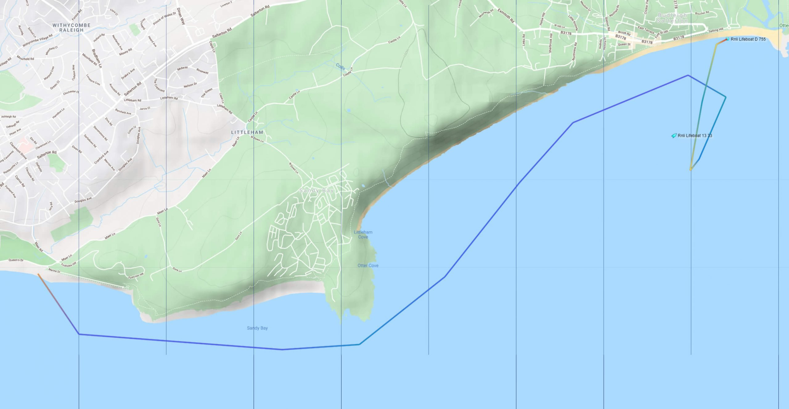 A map of the route taken by Exmouth the inshore lifeboats. Image: Marine Traffic