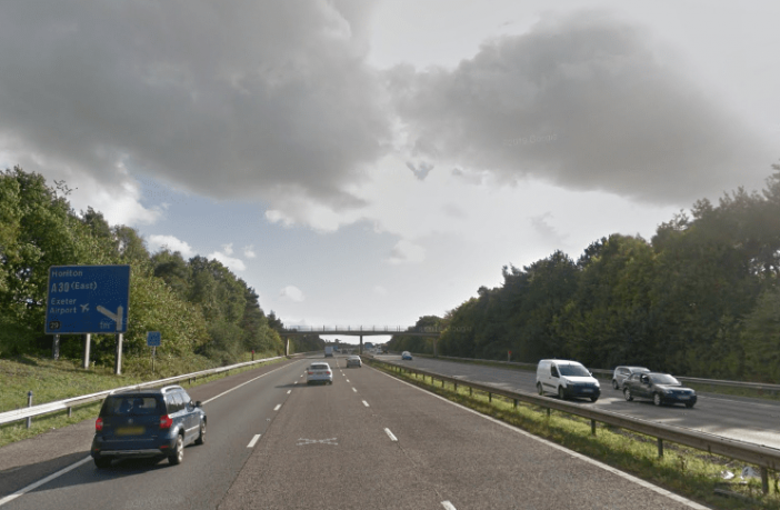 Stock photo of the M5 in East Devon and Exeter. Image: Google Maps