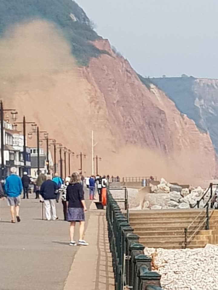 Susan Clarke caught a double cliff fall in Sidmouth on camera on April 25. Picture: Susan Clarke