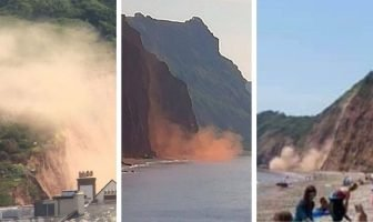 Three Sidmouth cliff falls in 24 hours this week - photos courtesy of (l-r) Stu White, Ray Moseley, Verity Graves-Morris.