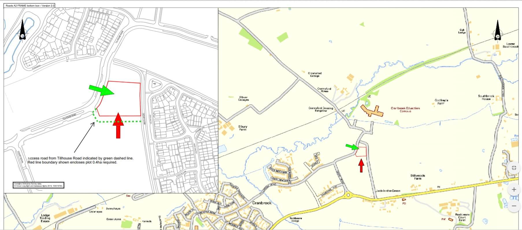 In red, where the new community building in Cranbrook would go. Image: DCC