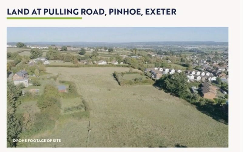 A drone image of the Pulling Road site in Pinhoe, Exeter.