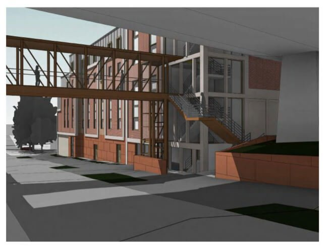 Amended plans that show the retention of the pedestrian bridge at the Harlequins centre in Exeter. Image: Curlew