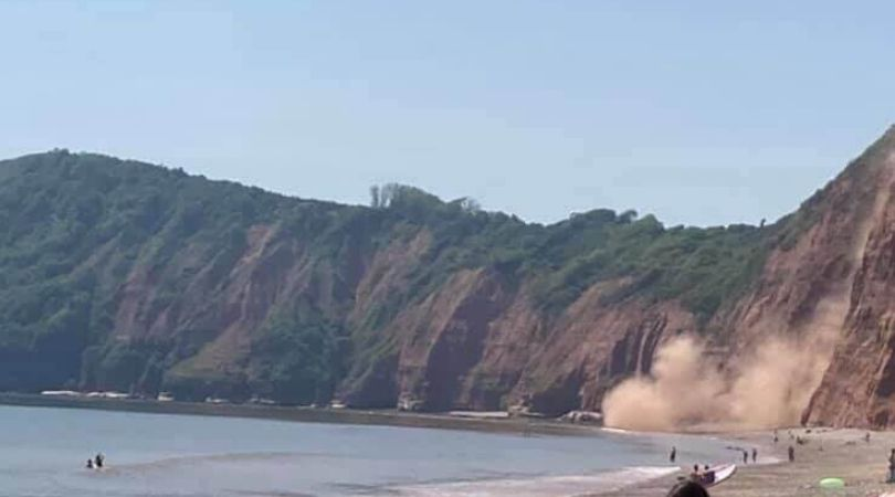Landslide near Jacob's Ladder beach at around 1.45pm on Wednesday, May 27. Picture: Verity Graves-Morris