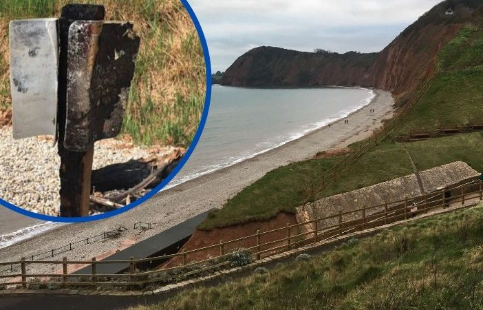 The sign at Jacob's Ladder beach in Sidmouth was destroyed in an act of arson.