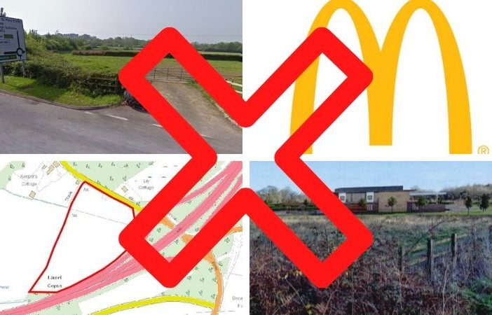 The service station and drive-thru McDonald's were proposed for land off the A30 at Daisymount near Ottery St Mary.