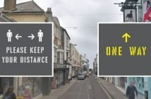 Example of the one-way and social distancing stencils that will be used in Sidmouth. Background archive image of Fore Street courtesy of Google Maps.
