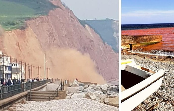 Left - A cliff fall in Sidmouth on camera on April 25. Picture: Susan Clarke. Right - Red Sea on April 21. Picture: Jutta Gorf