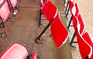 The broken grandstand seating at Budleigh Salterton Football Club. Picture: Budleigh Salterton AFC
