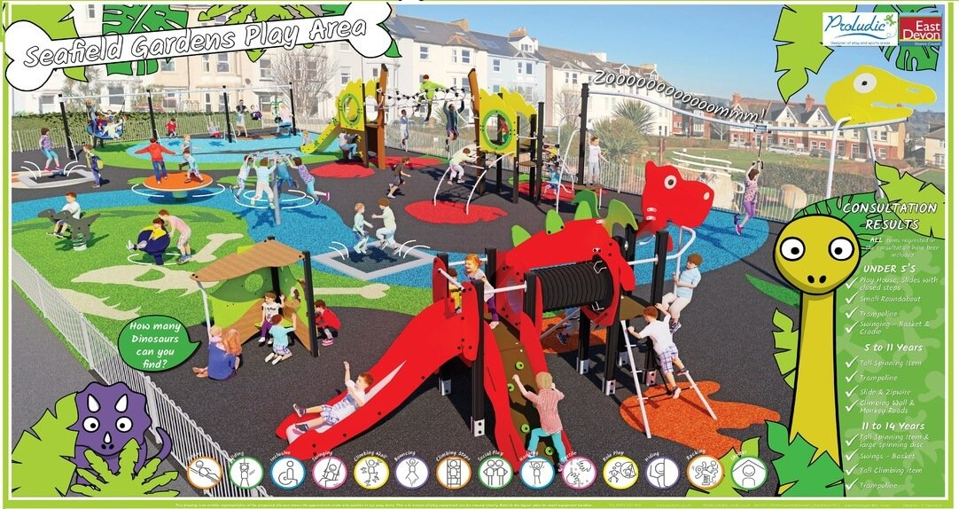 Designs for the Seafield Gardens play area in Seaton. Image: East Devon District Council