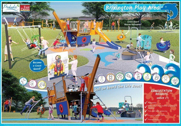 Designs for the Brixington play area in Exmouth. Image: East Devon District Council