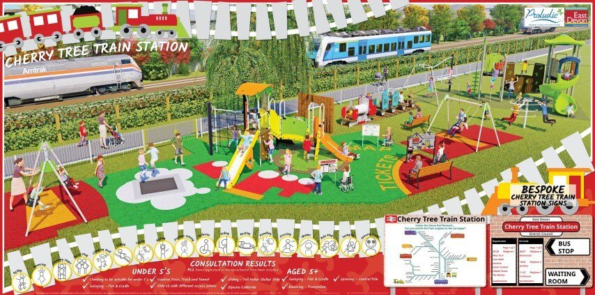 Designs for the Cherry Tree play area in Honiton. Image: East Devon District Council