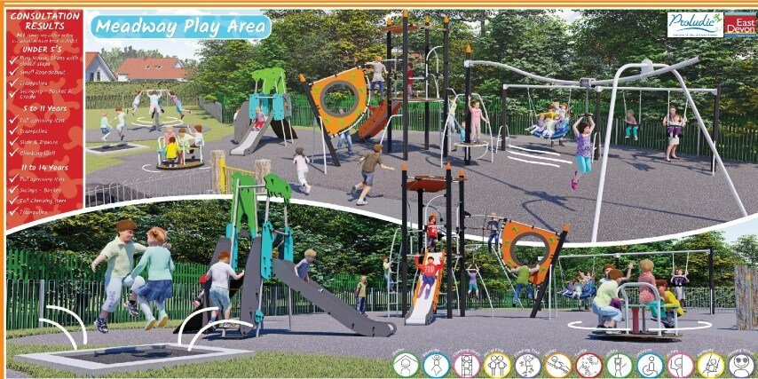 Designs for the Meadway play area in Seaton. Image: East Devon District Council