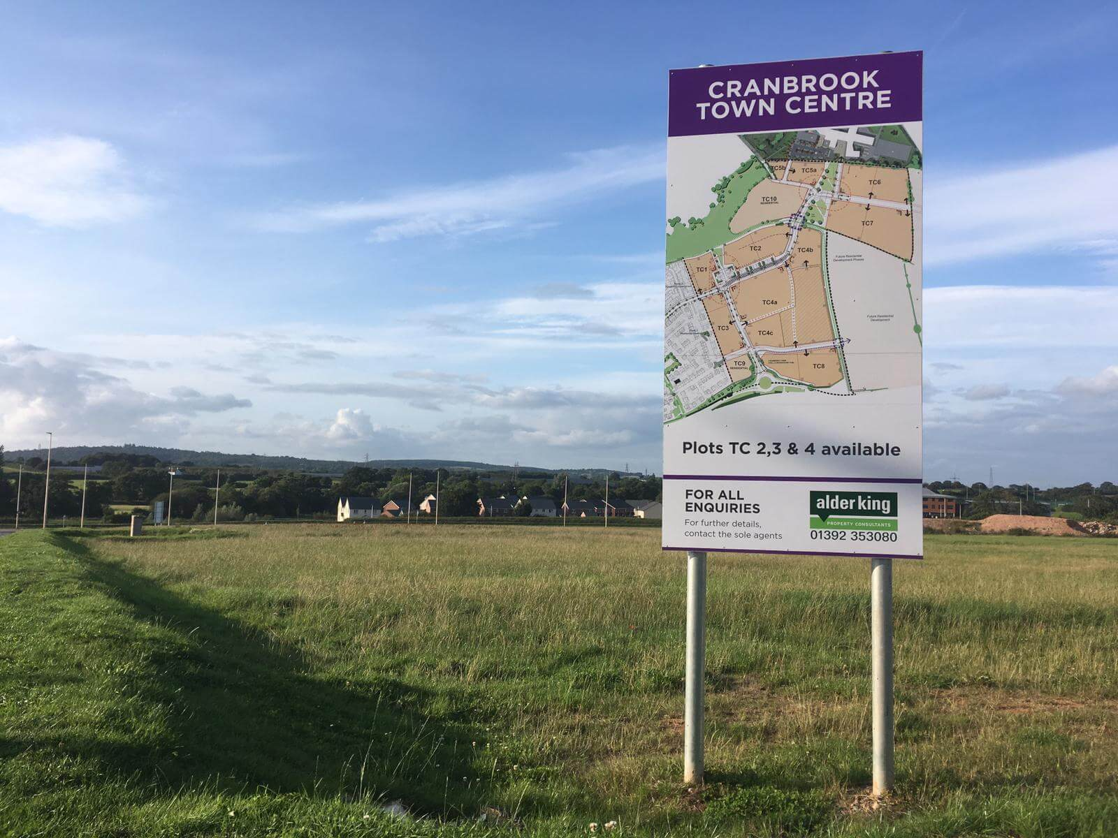 The land earmarked for the town centre in Cranbrook.