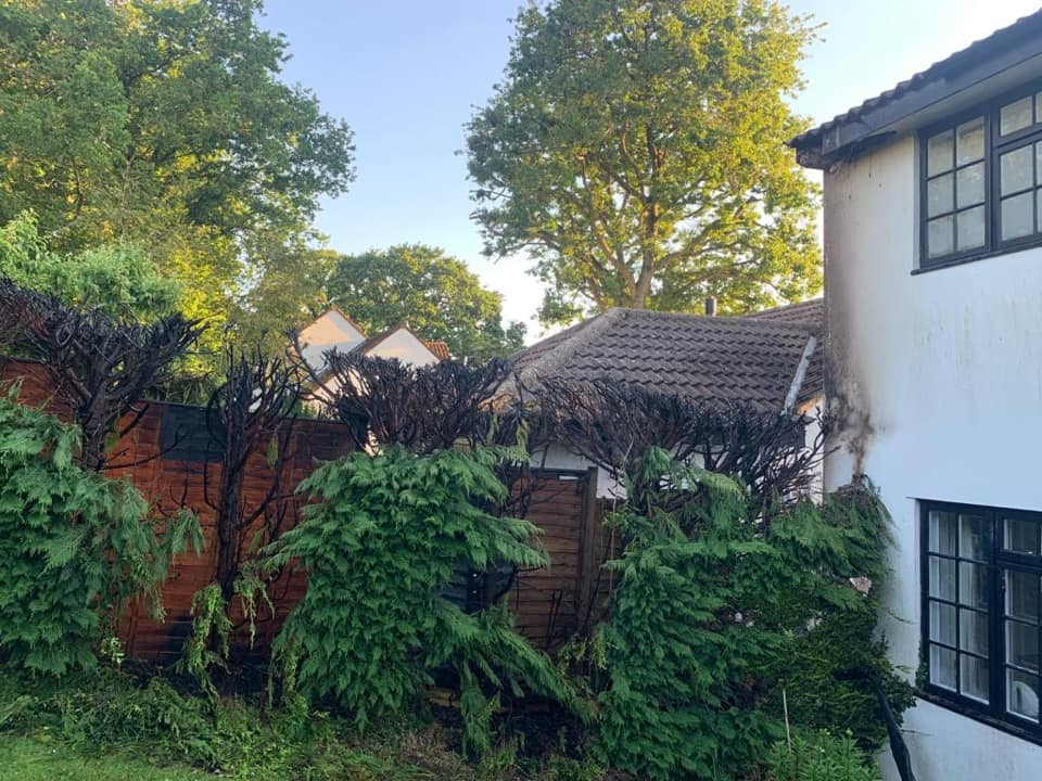 The aftermath of the Membury hedge blaze. Photos: Axminster Fire Station