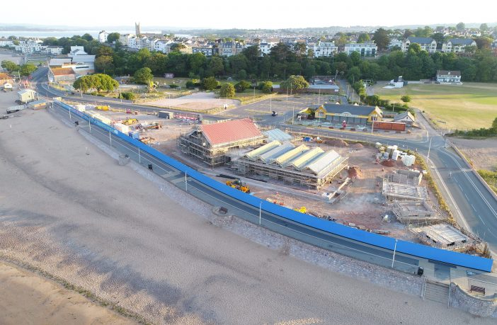 An aerial view of the the Sideshore watersports centre in Exmouth. Image: Grenadier