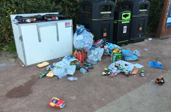 An overflowing litter bin at Orcombe Point in Exmouth at the weekend. Picture: East Devon District Council
