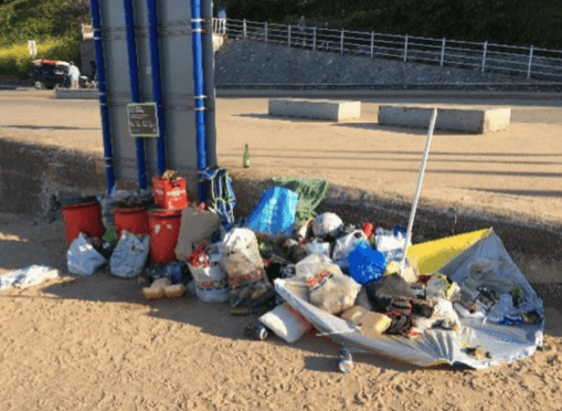 Images of overflowing bins and rubbish strewn on Exmouth seafront are featured in the report to East Devon District Council's cabinet. Pictures: EDDC