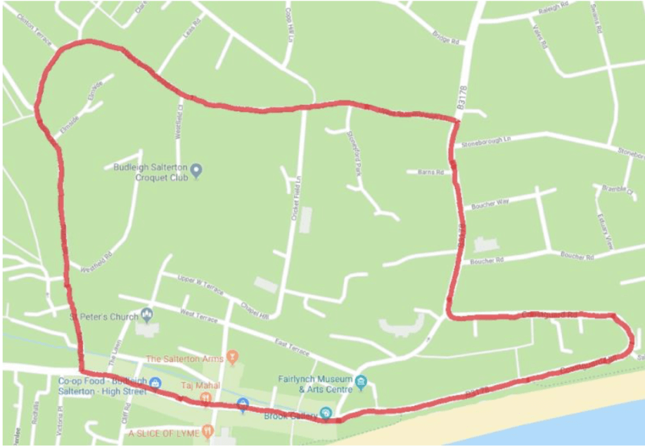 The diversion route. Image Budleigh Town Council/Google Maps
