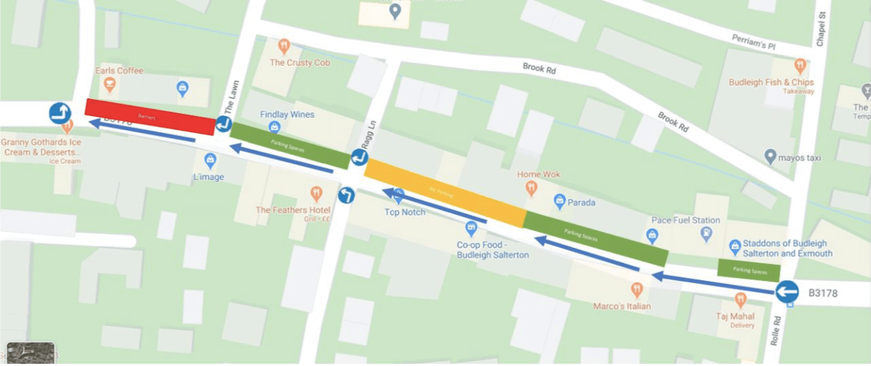 High Street traffic will flow one-way, from east to west, from the junction of Rolle Road to the junction of West Hill/Station Road. Image: Budleigh Town Council/Google Maps