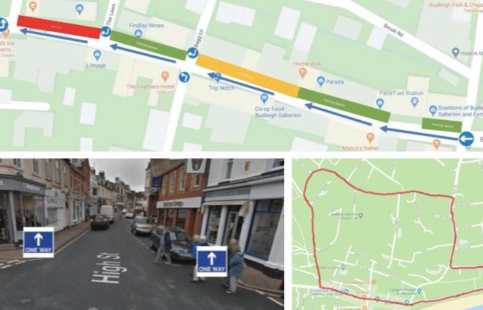 Plans for the proposed one-way system in Budleigh Salterton High Street. Images: Town council/Google Maps