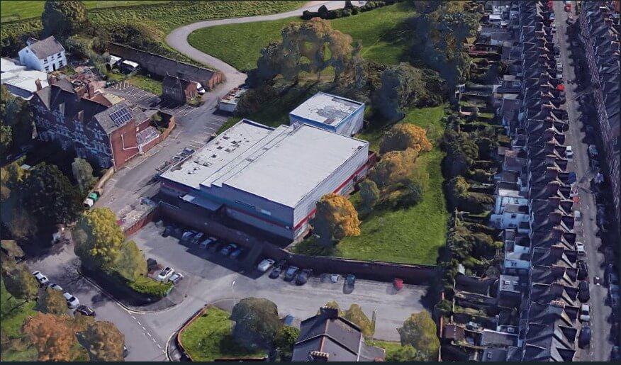 An aerial view of the Clifton Hill Sports Centre in Exeter.