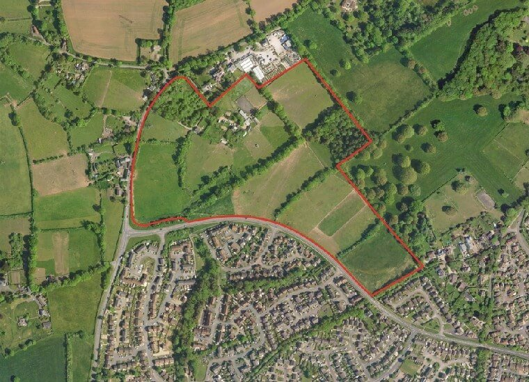 An aerial view of the land earmarked for development.