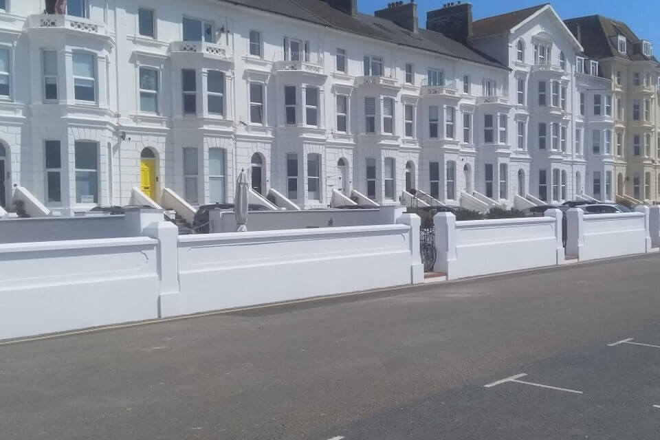 The newly-completed wall in front of seafront properties in Exmouth.