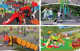 Play areas in Seaton, Exmouth and Honiton are getting a revamp. Images: East Devon District Council