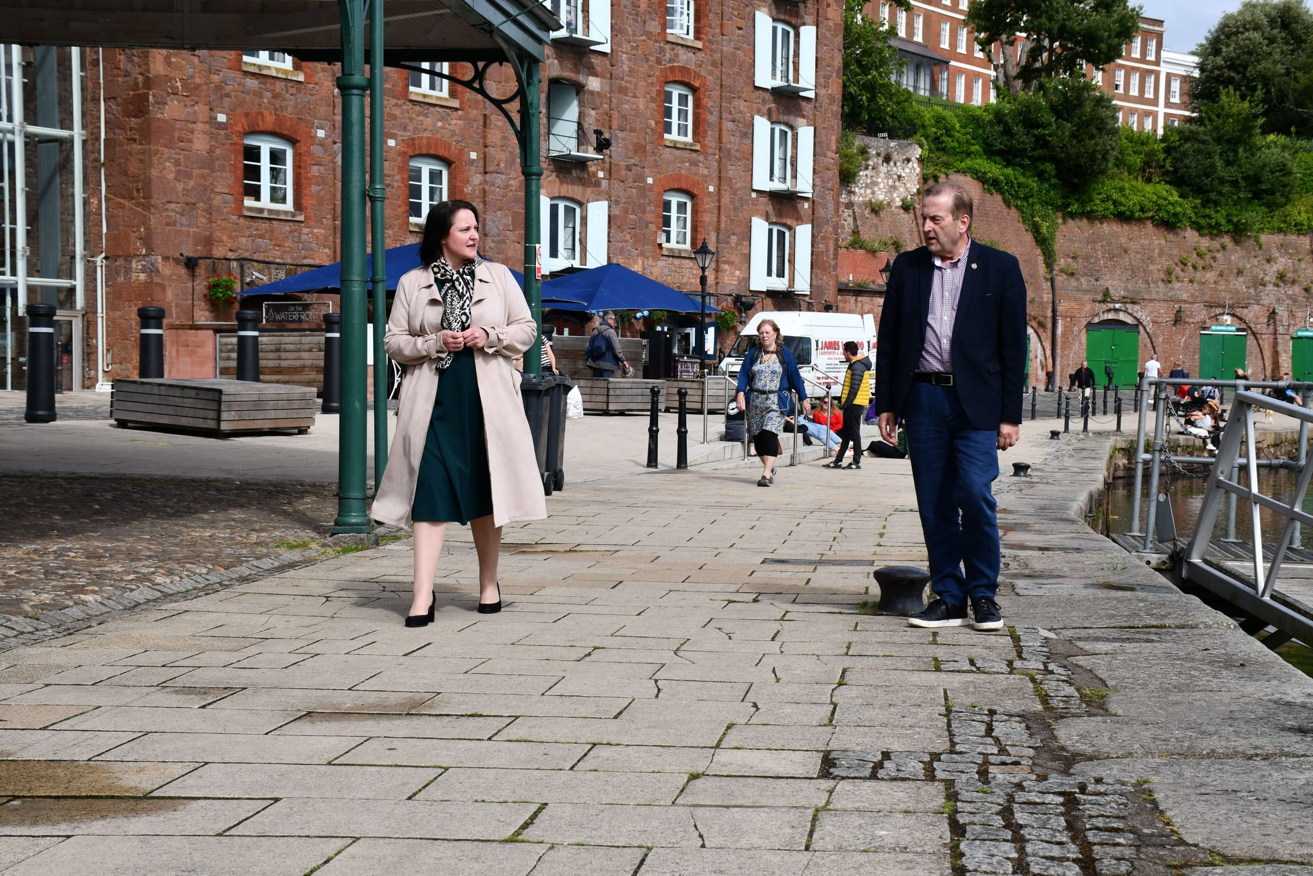 Cllr Phil Bialyk and Alison Hernandez at Exeter Quay. Picture: OPCC