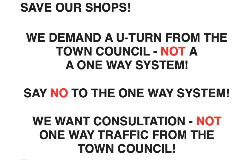 The campaign group's petition poster can be seen in many shop windows around d the town.