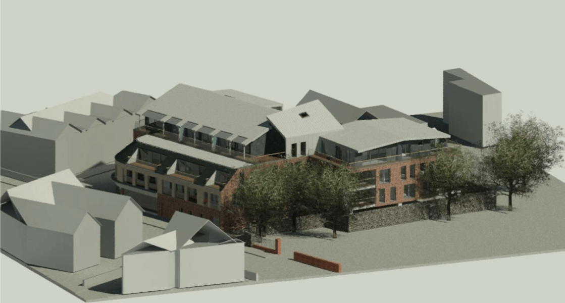 An artist's impression from the planning application for of the apartment block in Exmouth. Image: Stagg Inns Ltd/ARA Architecture