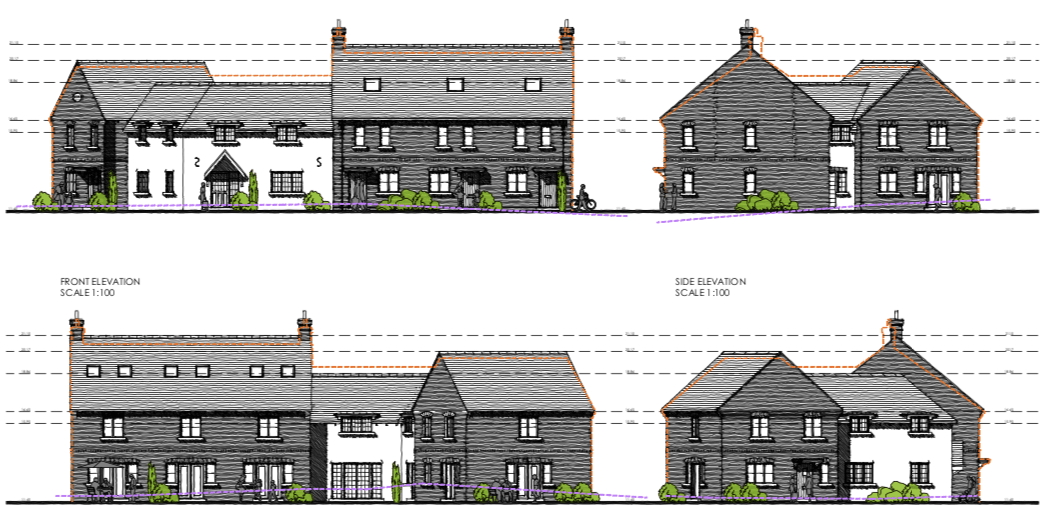 Image shown to EDDC's Planning Committee - the amended plans for homes in Lyme Close, Axminster. The orange dotted line indicates the original height of the mooted dwellings. Image: ARC Architecture