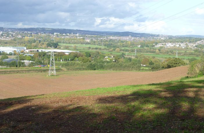 The land to the south-west of Exeter earmarked for development. Picture: DCC