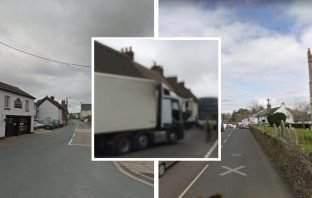 Calls have previously been made for HGVs weighing more than 7.5 tonnes to be based from the A375 between Sidford and Sidbury. Street images courtesy of Google Maps. Inset, a lorry meets a truck and a bus in Sidbury. Image: Say NO to Sidford Business Park