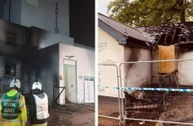 Left -The blaze at Exmouth Pavilion. Photo: Exmouth Fire Station. Right - The damage at Bumble and Bee. Photo: Darrell Trigs